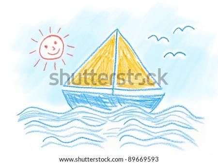 Drawing of sailboat - stock photo