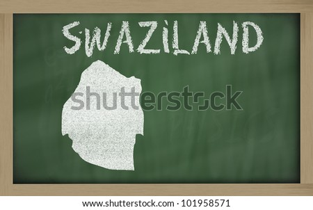 drawing of swaziland on blackboard, drawn by chalk