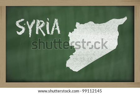 drawing of syria on blackboard, drawn by chalk - stock photo