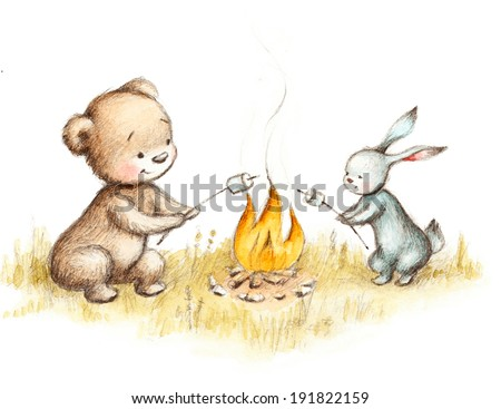 Drawing of teddy bear and bunny frying marshmallow.