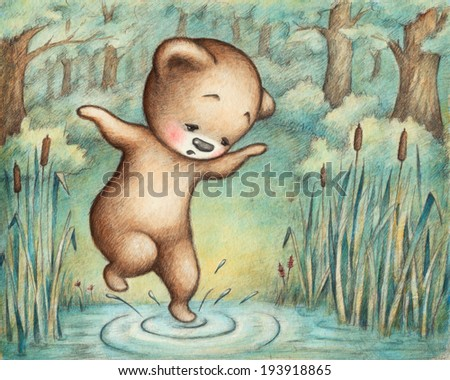 Drawing of Teddy Bear at the Pond  - stock photo