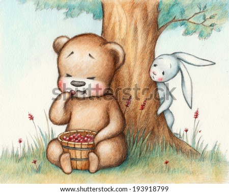 Drawing of Teddy Bear eating berries - stock photo