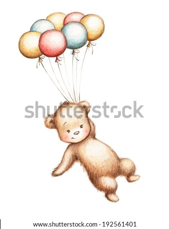 Drawing of Teddy Bear flying with balloons - stock photo