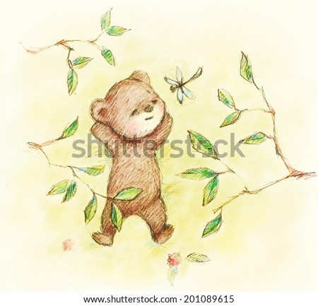 Drawing of Teddy Bear lying under the tree - stock photo