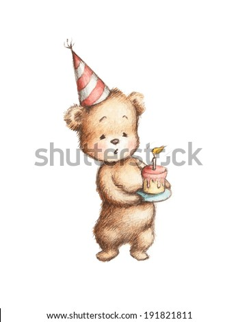 Drawing of Teddy Bear with Birthday Cake - stock photo