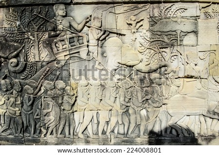 Drawing of the part of the army on the Bayon, Khmer temple at Angkor in Cambodia. Official state temple of the Mahayana Buddhist King Jayavarman VII - stock photo