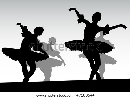 drawing of two ballerinas dancing on stage - stock photo