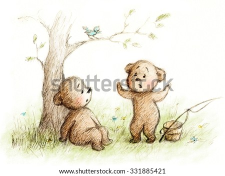 drawing of two teddy bears - stock photo