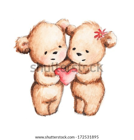 Drawing of Two Teddy Bears with Red Heart - stock photo