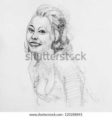 Drawing of vintage woman - stock photo