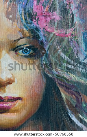 Drawing of young girl, fragment, painting - stock photo