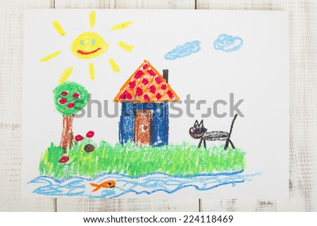 drawing oil pastels: country house - stock photo