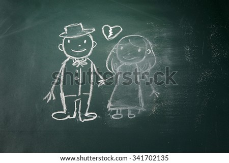 drawing on the chalkboard husband and wife breakup and women is being erase - stock photo