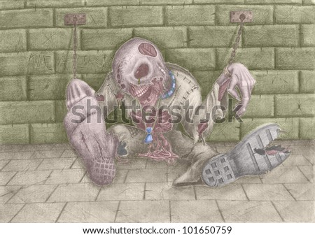 Drawing on the theme of Halloween. Horrible dead thing, shackles chaining to a wall. - stock photo