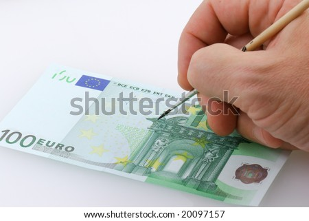 Drawing one hundred euro bill