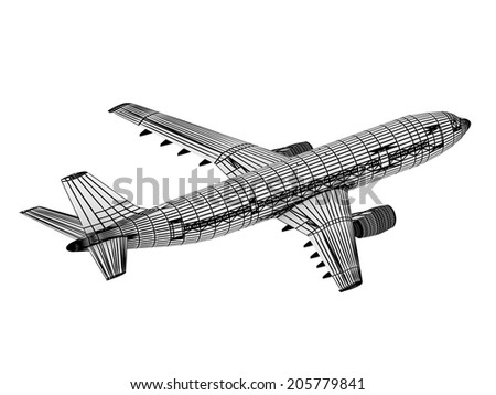 Drawing outline passenger airliner. Top view isolated on white - stock photo