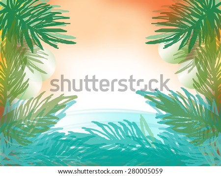drawing palm tree with space sunset and sea on background  - stock photo