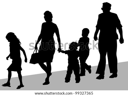 drawing parents and childs - stock photo