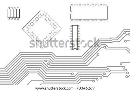 Drawing PCB (printed circuits board) and devices - stock photo