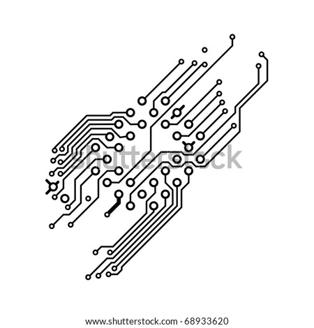 Drawing PCB (printed circuits board) - black on white, blank space for text - stock photo