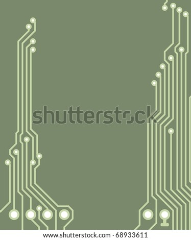 Drawing PCB (printed circuits board) - green, blank space for text - stock photo