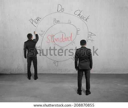 Drawing PDCA cycle on concrete wall with another man looking - stock photo