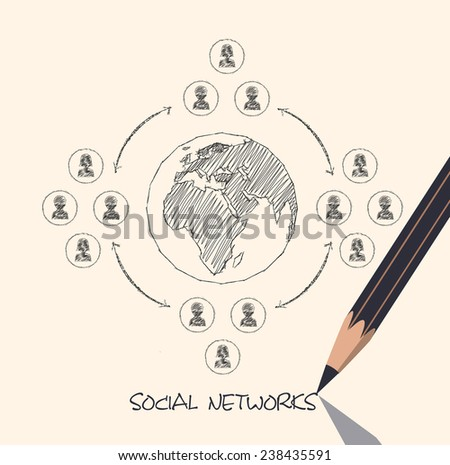 drawing pencil scheme of  social networks communication people Internet - stock photo