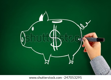 drawing piggy bank - stock photo
