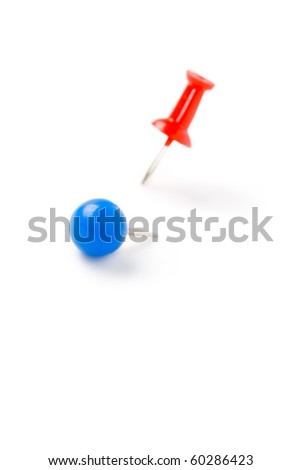Drawing pin isolated on the white background - stock photo