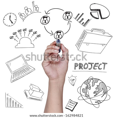drawing plan business concept - stock photo