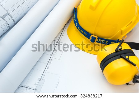 Drawing plan paper safety tool subject stock photo royalty free drawing plan paper and safety tool for subject to construction planning or business work malvernweather Choice Image