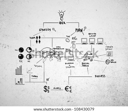 drawing plan strategy success on a concrete wall - stock photo