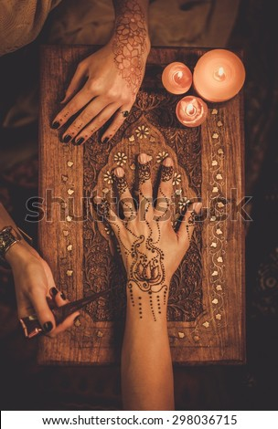 Mehndi hand stock images royalty free images vectors for Henna tattoo process