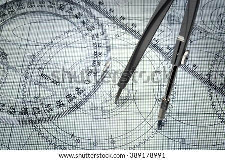 drawing, protractor and compasses
