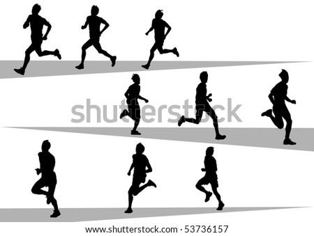 drawing running athlete an. Silhouette of sports people