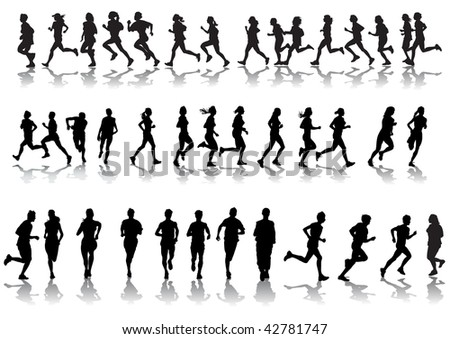 drawing running athletes. Silhouettes on white background