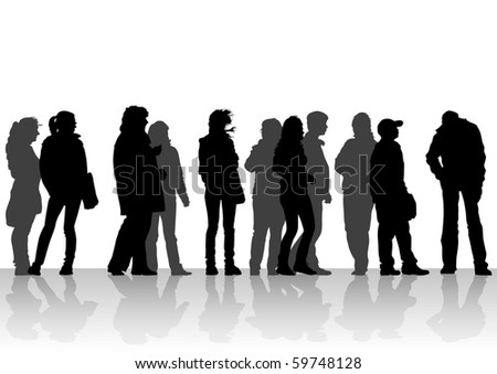 drawing silhouette crowds people on street - stock photo
