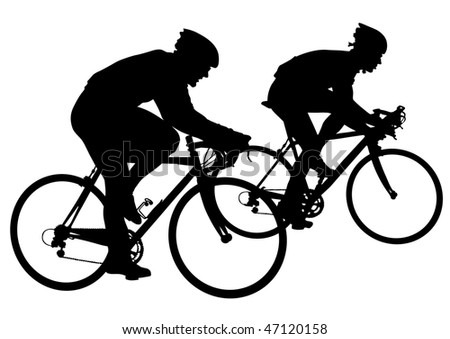 drawing silhouettes cyclists in competition - stock photo