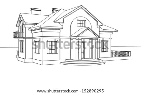 Line drawing house stock images royalty free images for House sketches from photos