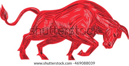 Drawing sketch style illustration of a bull facing attacking charging viewed from the side set on isolated white background.
