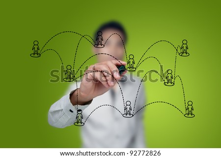 Drawing social network structure in a whiteboard. - stock photo
