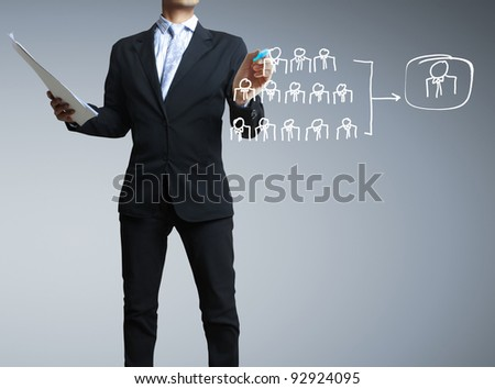 drawing social network structure in a whiteboard - stock photo