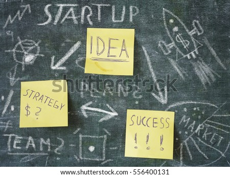 drawing Start up concept on chalkboard, free copy space