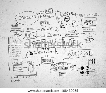 drawing strategy success on a concrete wall - stock photo