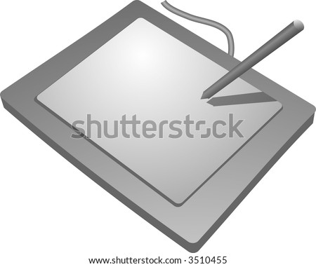 Drawing tablet input device, connects to computer to allow drawing - stock photo