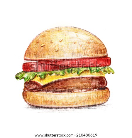 Drawing tasty burger isolated on white background - stock photo