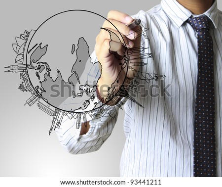 drawing the air on a whiteboard - stock photo