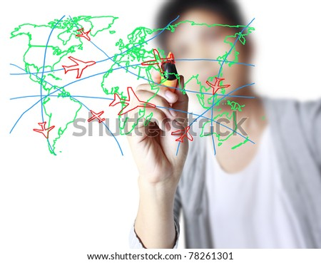 drawing the world map in a whiteboard - stock photo
