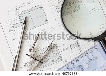 drawing tools in the workplace technologist - stock photo