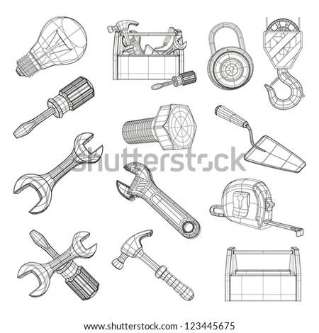 Drawing tools set bitmap copy - stock photo